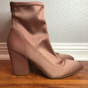 Nine West Fitted Satin Pink Booties